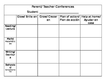 Editable Parent Teacher Conference Comments Glows/Grows