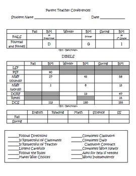 Editable Parent Teacher Conference Form