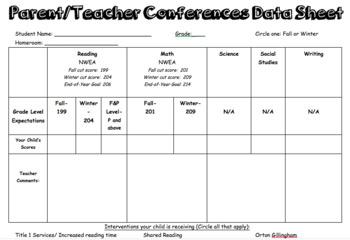 Editable Parent/Teacher Conference Form
