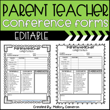 Editable Parent Teacher Conference Form By Mallory Cameron  Cameron