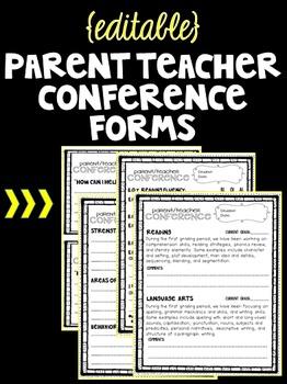 Editable Parent Teacher Conference Forms