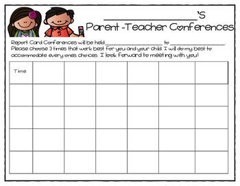 Parent-Teacher Conference Sign-Up Schedule