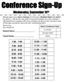 Editable Parent Teacher Conference Sign Up Sheet
