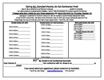 Parent Teacher Conference Signup Sheet Editable