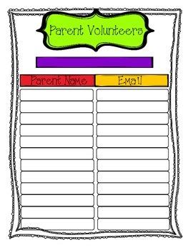 Editable Parent Volunteer Form