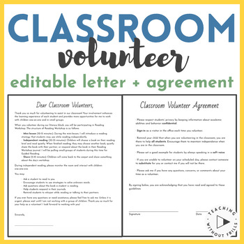 editable parent volunteer information letter and agreement