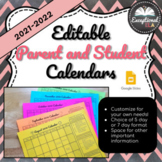 Editable Parent and Student Calendars 2019-2020 - Perfect