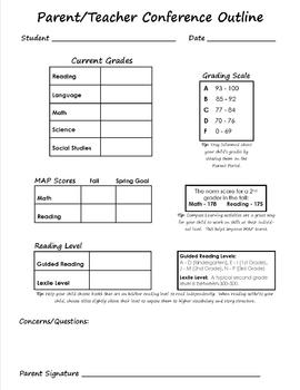 Editable Parent/Teacher Conference Form