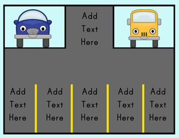 Editable Parking Lot Review Game Customize and Differentiated