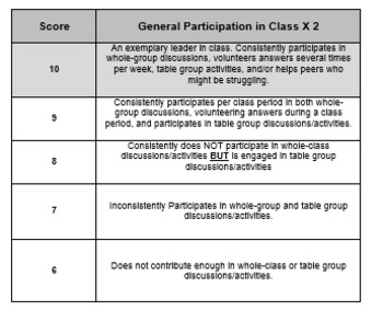Editable Participation Rubric