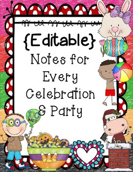 FREEBIE** Editable Party Notes for the Whole Year