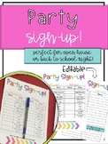 Editable Party Sign-Up for Parents! Perfect for Back to School!