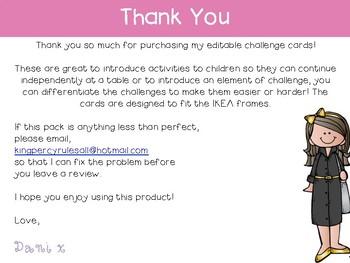 Editable Pastel Challenge Cards