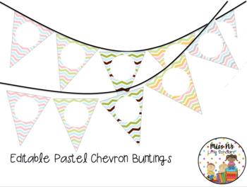 Editable Pastel Chevron Bunting