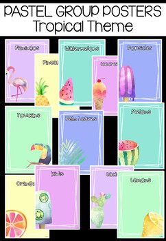 Editable Pastel Group Signs: TROPICAL THEME