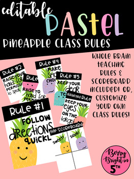 Editable Pastel Pineapple Rules & Scoreboard