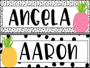 Editable Pastel Pineapple Student Name Plates