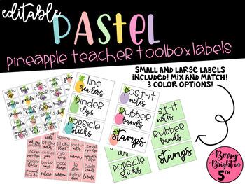Editable Pastel Pineapple Teacher Toolbox Labels