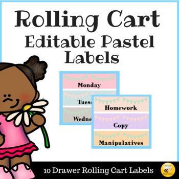 Editable Pastel Rolling Cart Labels
