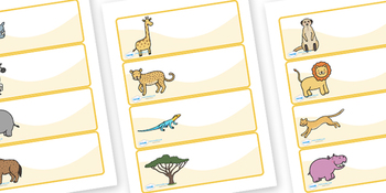 Editable Peg Drawer Labels (Safari Animals)