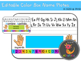 Editable Color Box Name Plates in English and Spanish