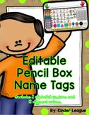 Editable Pencil Box Name Tags by Kinder League
