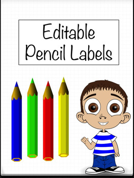 Editable Pencils Student Name Labels Template