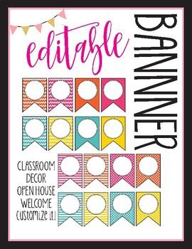 Editable Pennant Banner - Back to School - Bright Colors Fun Designs Chevron+