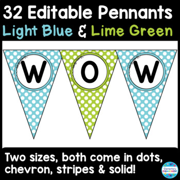 Editable Pennant Banners in Light Blue and Lime Green