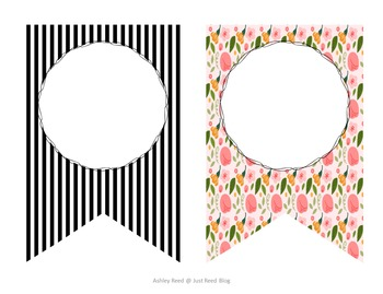 Editable Pennant Banners: Fun Floral Design