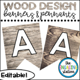 Editable Pennants and Banners - Wood Design