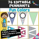 "48 Editable Pennants in ""Fun Colors"""