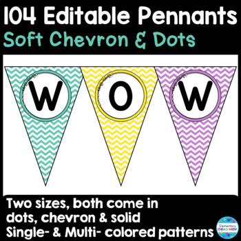 Editable Pennants in Soft Chevron & Dots