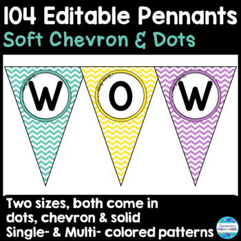 Editable Pennant Banners in Soft Chevron & Dots