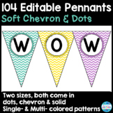 104 Editable Pennant Banners in Soft Chevron & Dots