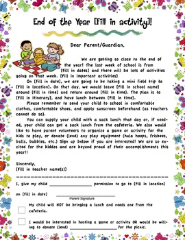 Editable Permission Form - End of Year Activity or Field Trip