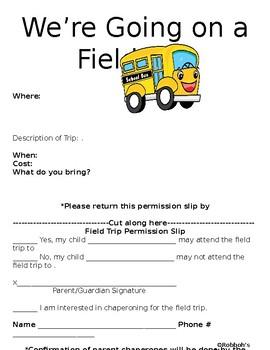 Editable Permission Slip
