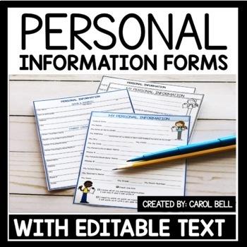 Personal Information Worksheet Editable
