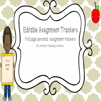 Editable Personal Student Assignment Trackers