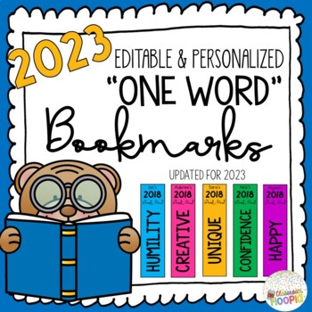 2018 Personalized One Word Bookmarks (Editable)