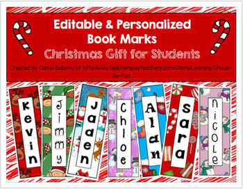 Editable Personalized Bookmarks:  Christmas Gifts for Students