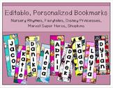 Editable, Personalized Bookmarks - (Super Heros, Princesses, Shopkins, etc.)