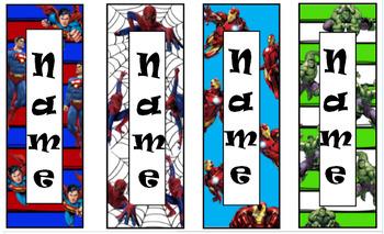 Editable, Personalized Bookmarks - (Super Heros, Princesses, Shopkins, etc.)