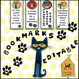 Editable / Customizable Pete the Cat boomarks
