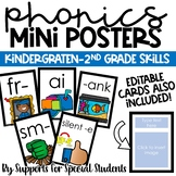 Editable Phonics Mini Posters - Letters, Blends, Digraphs, Word Families & More!