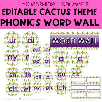 Editable Phonics Word Wall Cactus Themed
