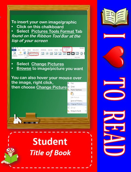 Editable Photo Posters and Certificates: I Love to Read Theme
