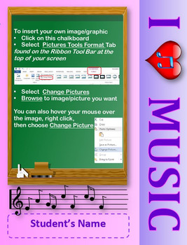 Editable Photo Posters and Certificates: I love Music Theme