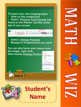Editable Photo Posters and Certificates: Math Wiz