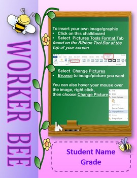 Editable Photo Posters and Certificates: Worker Bee Theme